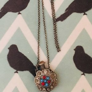 Jewelry - Vintage Silver & Gemstone Perfume Bottle Necklace